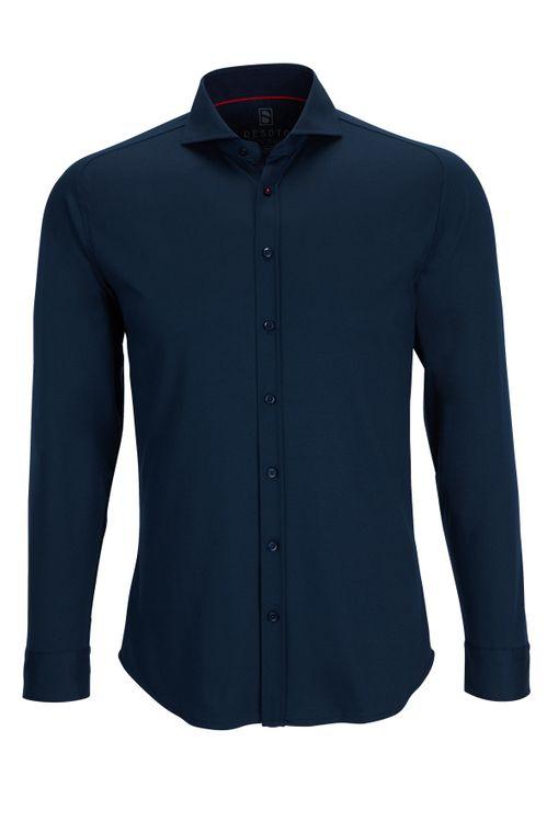 Desoto Overhemd Lange Mouw Navy