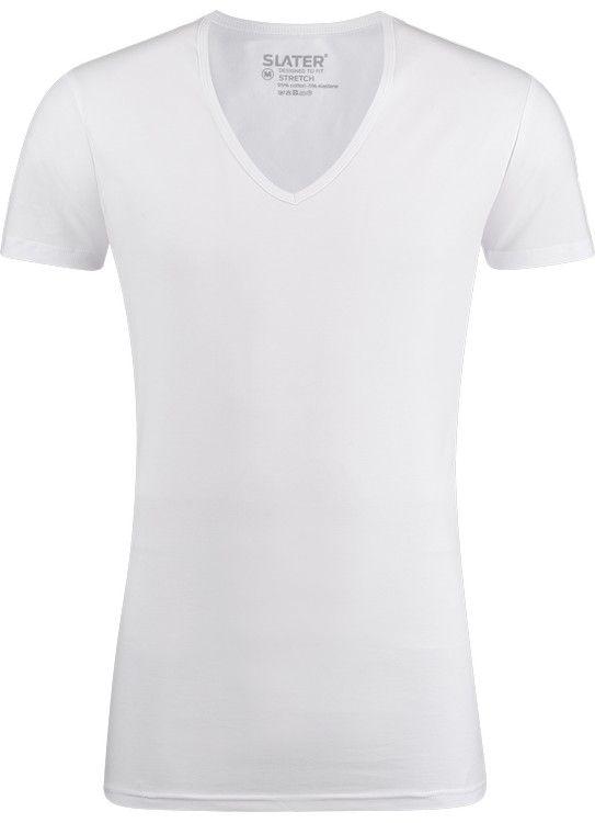 Slater T-Shirt diepe V-Hals 2-pack Stretch