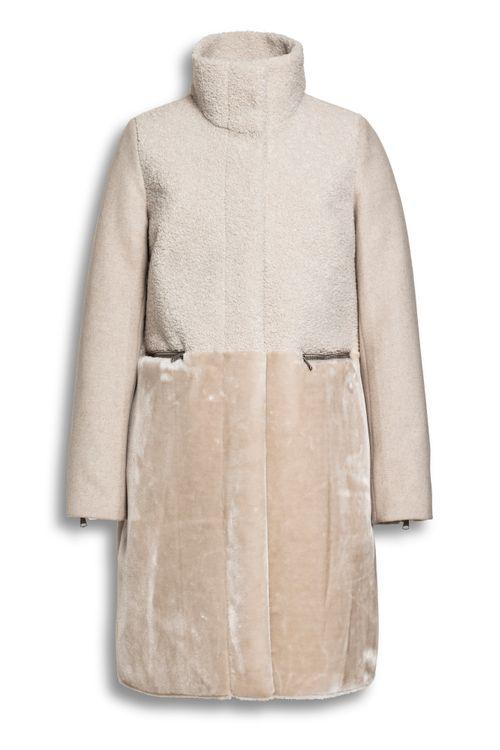 Fur-wool mix coat - Soft Sand