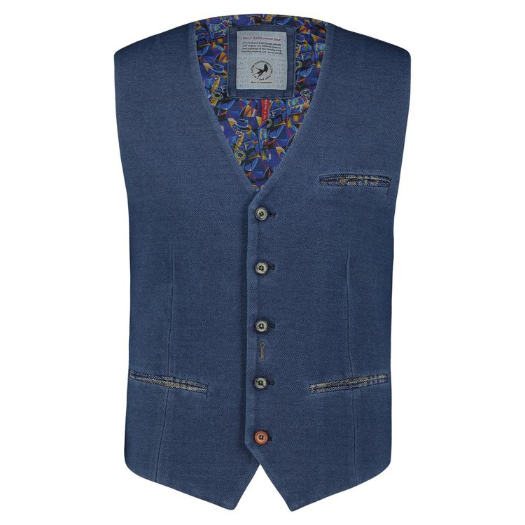 A Fish Named Fred Gilet washed indigo