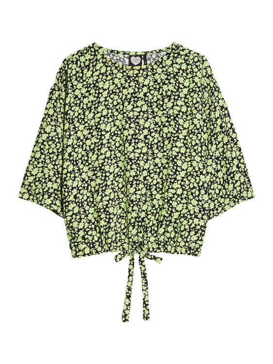 Catwalk Junkie Top Lime Flowers